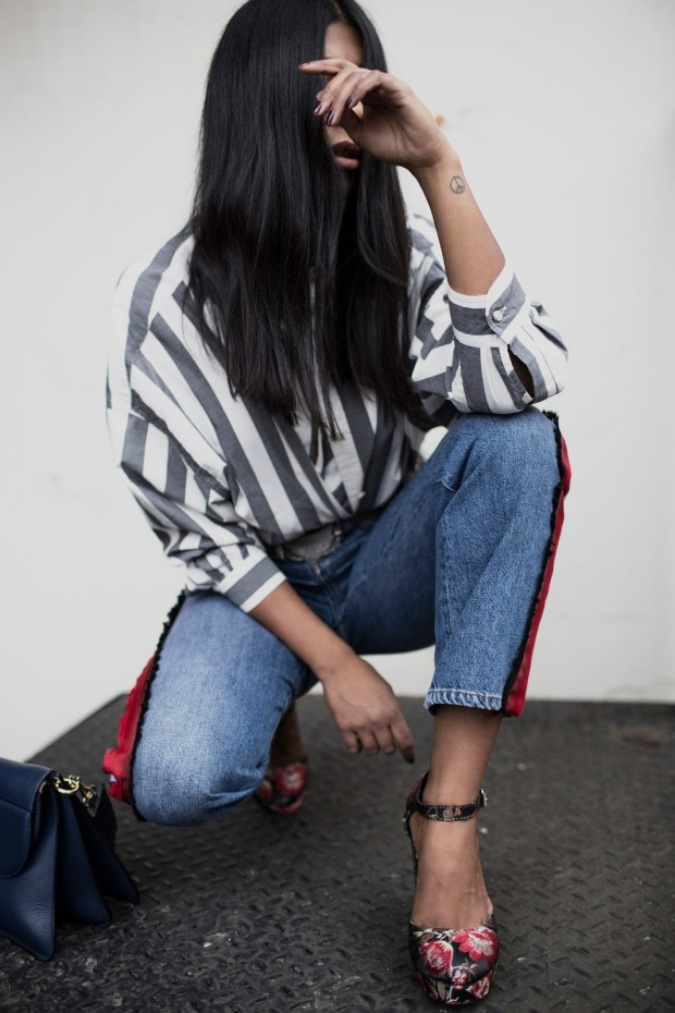 monikh-dale-fashion-blogger-style-bop-victoria-beckham-jeans-jeans-with-red-stripes-topshop-embroided-heels-topshop-flower-heels-mih-stripe-shirt-fashion-blogger-london-london-street-style